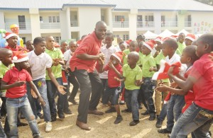 The General Manager, Offshore Assets of the Shell Nigeria Exploration and Production Company Limited (SNEPCo), Mr. Effy Okon, at the SNEPCo-sponsored 2015 Christmas party of the Innercity Mission School, Ikeja... on Monday.