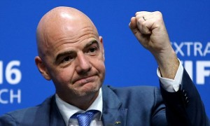 ZURICH, SWITZERLAND - FEBRUARY 26: The new FIFA President Gianni Infantino gestures during a press conference after the Extraordinary FIFA Congress at Hallenstadion on February 26, 2016 in Zurich, Switzerland. (Photo by Richard Heathcote/Getty Images)