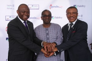 Managing Director/Chief Executive Officer, Fidelity Bank Plc., Nnamdi Okonkwo; Chief Executive Officer, Nigerian Export Promotion Council, NEPC, Segun Awolowo and Representative of the Dean, Lagos Business School, Dr. Frank Ojadi at a joint press conference on Export Management Program aimed primarily at enhancing export readiness of micro small and medium scale enterprises, MSMEs in Nigeria which took place in Lagos