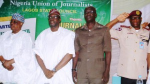 PIC. 1. FROM LEFT; FORMER OGUN STATE GOVERNOR, AREMO SEGUN OSOBA; REPRESENTATIVE OF LAGOS GOVERNOR, MR STEVE AYORINDE; NATIONAL PRESIDENT, NIGERIA UNION OF JOURNALIST, MR WAHEED ODUSILE, AND CORPS MARSHAL, FEDERAL ROAD SAFETY CORPS, BOBOYE OYEYEMI, AT THE 1ST QUARTERLY EXECUTIVE COUNCIL MEETING OF THE NUJ IN LAGOS, ON SATURDAY (16/4/16). 2949 /16/04/2016/WAS/HF/NAN