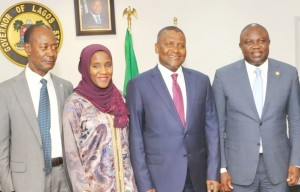 Honourary Adviser to President/CE, Dangote Group, Engr. Joseph Makoju; Executive Director, Dangote Group, Halima Aliko Dangote; President/CE, Dangote Group, Aliko Dangote; Lagos State Governor, Mr. Akinwunmi Ambode during The Official flag-off of the Dangote Foundation Micro Grant Scheme for Women in LGAS/LCDAS on Thursday, 26th May, 2016 in Lagos.