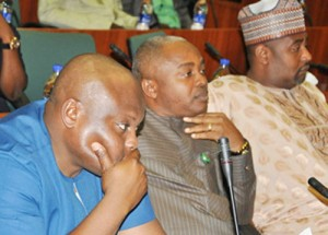 From left: Gbillah; Ikon and Gololo during the botched investigative hearing at the National Assembly in Abuja