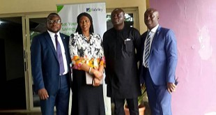 L-R: Chris Nnakwe, Head, CSR & Sustainability, Fidelity Bank Plc; Onari Duke, wife of Former Governor of Cross River state & founder of EMPRETEC; Mr. Peter A. Egba, Commissioner of Commerce & Industry, Cross River State; Ndubuisi Onuoha, Head, Specialised SME, Fidelity Bank Plc during the opening ceremony of an Entrepreneurship Training Programme organised by EMPRETEC Nigeria Foundation and held at City Gate Guest House, Murtala Mohammed Highway, Calabar.